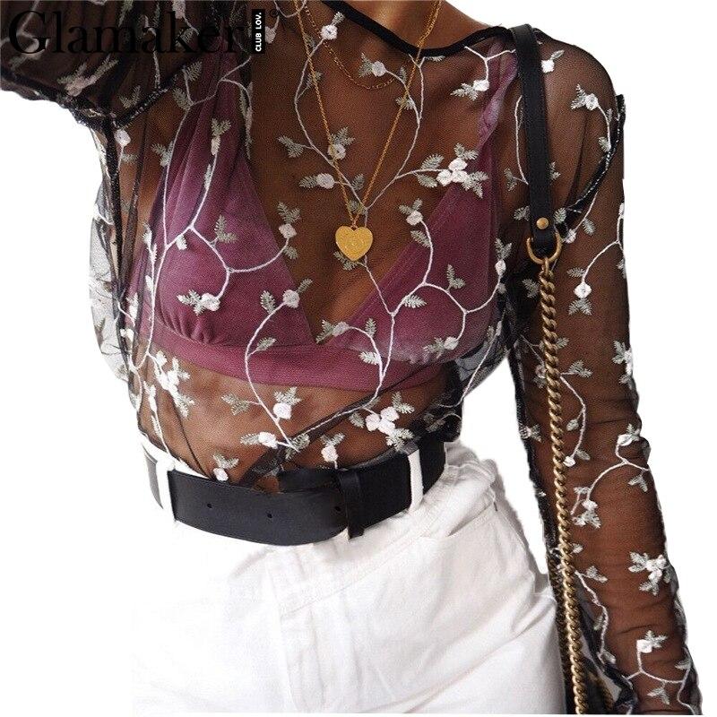 Glamaker de malla bordado Floral camisa de la blusa de Las Mujeres camisa casual