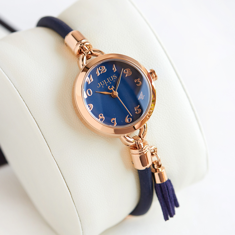 Simple Lady Women's Watch Japan Mov Retro Hours Fine Fashion Dress Rubber Tassel Charm Bracelet Girl Birthday Gift Julius Box new simple cutting glass women s watch japan quartz hours fashion dress stainless steel bracelet birthday girl gift julius box
