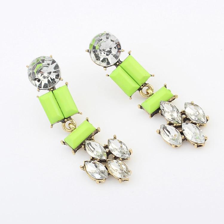 Fashion Bohemian Florescence Green Crystal Stud Earrings ZC7P9