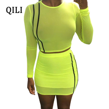 QILI Women Party Dress O-Neck Long Sleeve Two Piece Set Mini Dresses See Through Mesh Striped Short Bodycon 2018 Summer