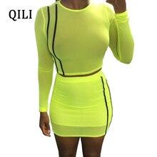 QILI Women Party Dress O-Neck Long Sleeve Two Piece Set Mini Dresses See Through Mesh Striped Short Bodycon Dress 2018 Summer цена