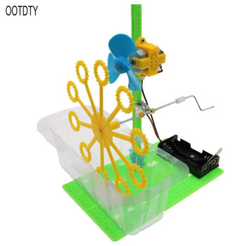 DIY Bubble Machine Electric Toy Science Experiment Kit Manual Assembly Education Water Blowing Toys For Children diy manual technology small production creative vacuum cleaner student science experiment manual assembly of toy materials
