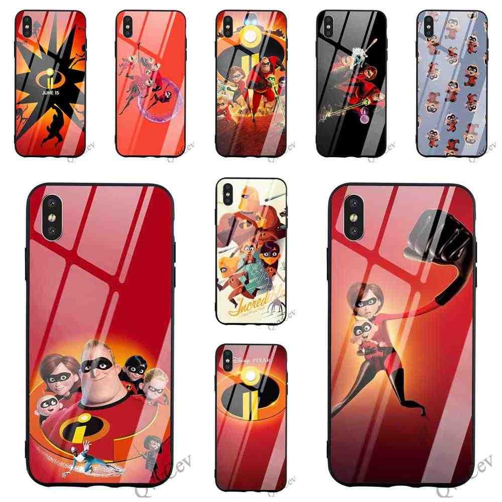 Magro Incríveis 2 Vidro Temperado Telefone Capa para iPhone 5 Caso XR X 7 8 Plus 6 5S 6S SE Xs Max 11 pro TPU