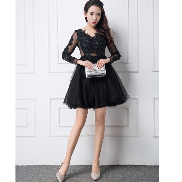 robe de cocktail dresses 2017 sexy v neck long sleeve black lace ...