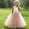 Corar Vestidos de Meninas de Flor Gasto Flor Pérolas Crianças Vestido Tutu para Meninas Bege Blush Vestidos de Festa de Aniversário Das Meninas 2-8A
