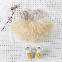 BABY GIRLS DRESSES PRINCESS ELEGANT DRESSES TODDLER KIDS CLOTHES LACE BALL GOWN YELLOW COURTLY SKIRTS CUTE ELEGANT FOR BANQUET