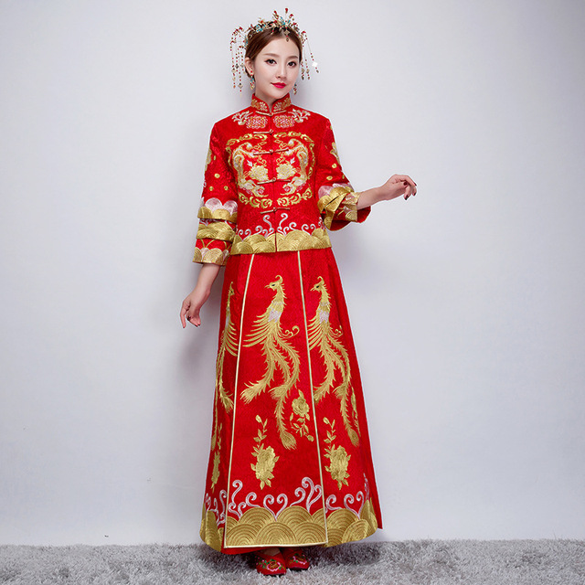 c13d3ff3f Women Traditional Chinese Wedding Gown 2019 New Red Cheongsam Dress Vintage  Qipao Vestido China Dresses Robes Oriental Wholesale