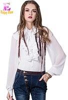 Chest 89 97cm Summer 2017 Vintage White Chiffon Lantern Long Sleeve Women Blouse Shirt Two Piece