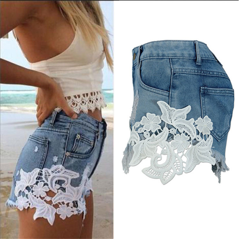 European and American summer wind female blue high waist denim shorts women worn loose burr hole jeans shorts