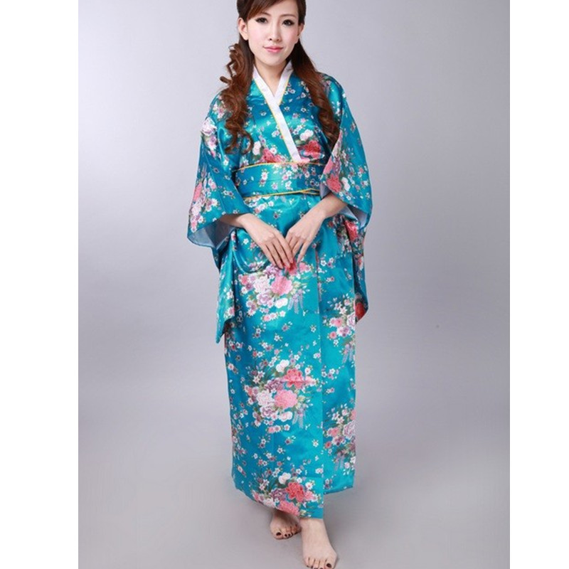 Japanese National Women Lake Blue Kimono Satin Yukata With Obi Traditional Evening Dress Novelty Halloween Costume One Size