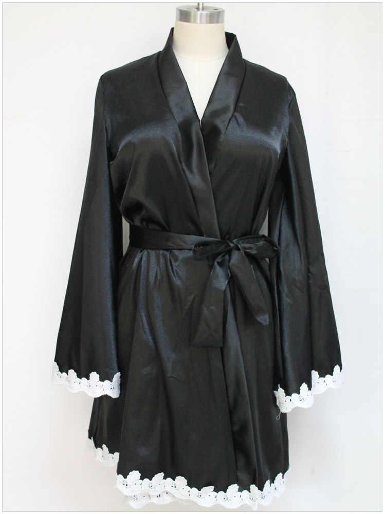 חלוק קימונו סקסי הלבשה תחתונה כתונת הלילה לישון למעלה שמלת פיג 'מת כותנות Robe Femme כתנות לילה הלבשת