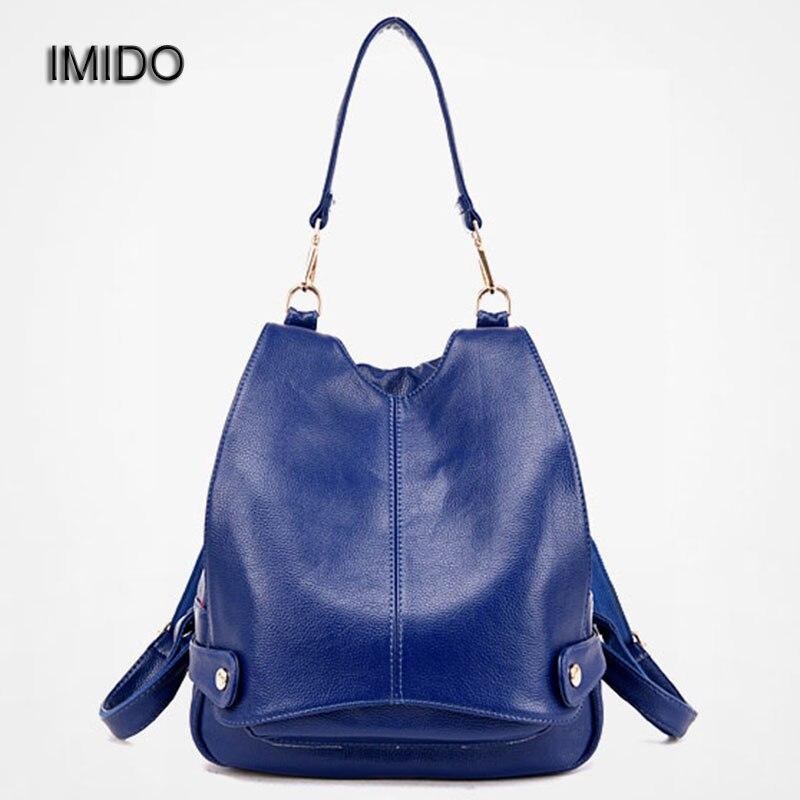 IMIDO 2017 Brand design PU leather backpacks women bag travel backbag safe shoulder backpack girl School Rucksack escolar SLD061