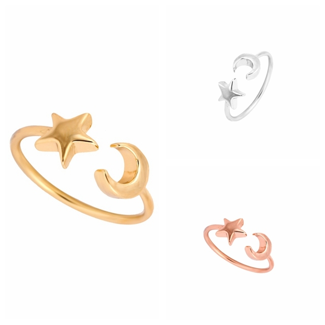 Min 1pc New Fashon Gold Silver and Rose Gold Plated Adjustable Crescent Moon and Tiny Star Rings for Women JZ161