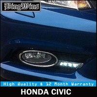 Car Daytime Running Lights Kits For Honda Civic LED DRL 2011 2014 Civic 9TH 9th LED Fog Light Cover Frame with white lights