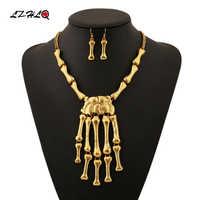 LZHLQ Rock Street esqueleto gargantilla de hueso declaración collar establece mujeres nuevos Collares góticos colgantes collar