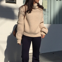 RUGOD Fashion Winter Turtleneck Knitted Sweater Long Sleeve Solid Women Sweaters And Pullovers Casual Oversized Sweater