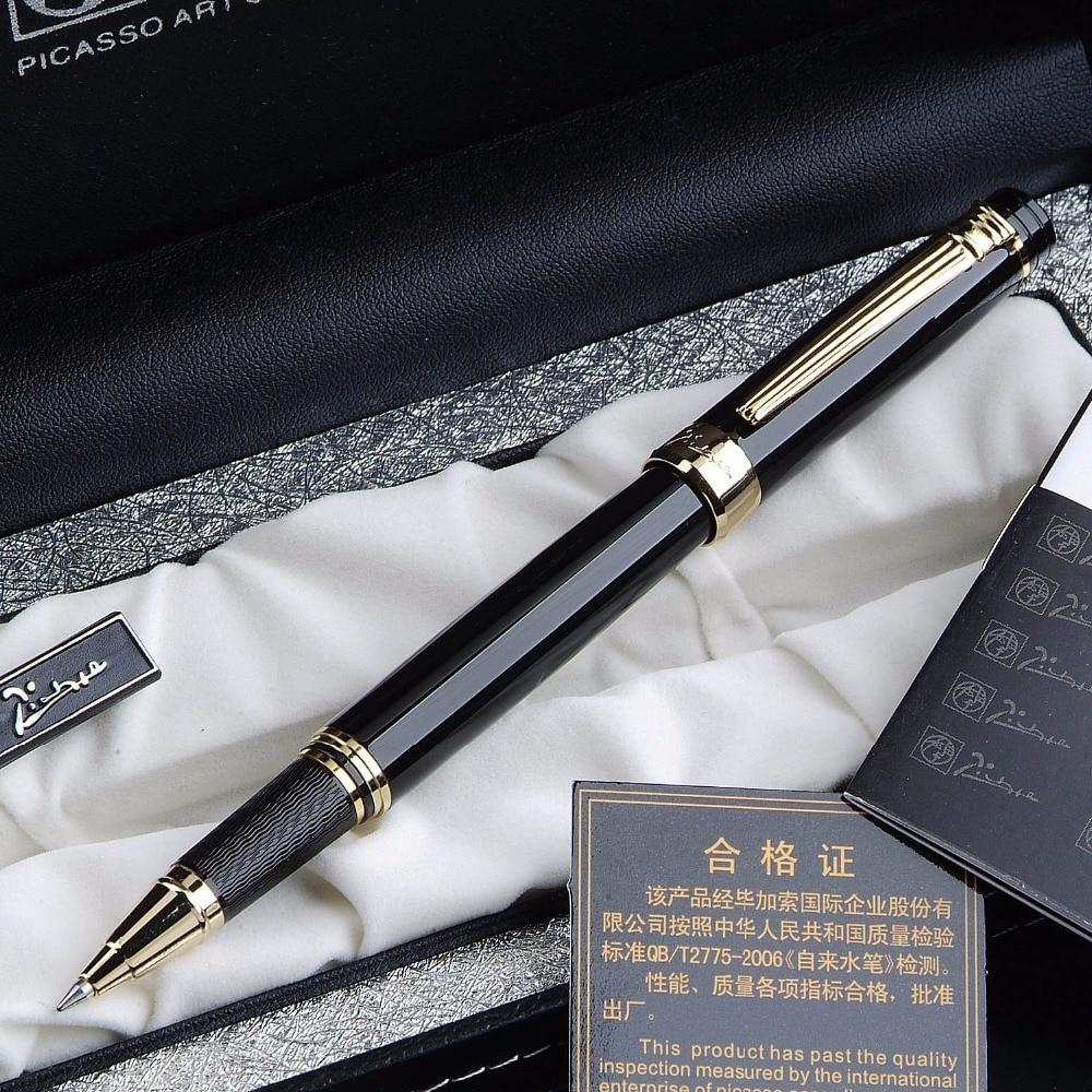 Pimio 917 luksusowe czarny ze złotymi Roller długopis z oryginalnym pudełkiem na prezenty 0.5mm czarny atrament napełniania długopis długopisyDługopisy żelowe   -