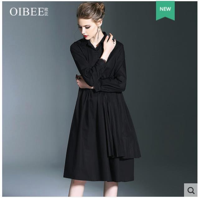 2018 robe longue noire pour femmes nouvelle chemise de mode pour femmes avec col large et jupe à manches longues