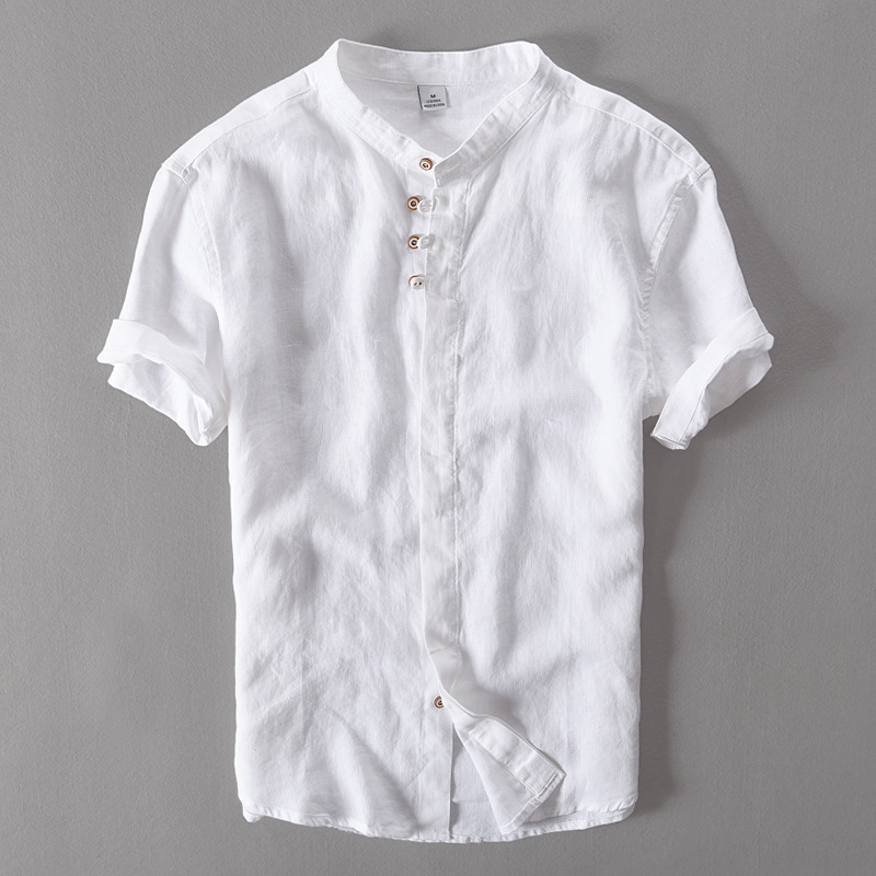 Italy Brand Pure Flax Short Sleeve Linen Shirt Men White Double layer Placket Retro Button Summer Men Shirt Fashion Camisa Homme
