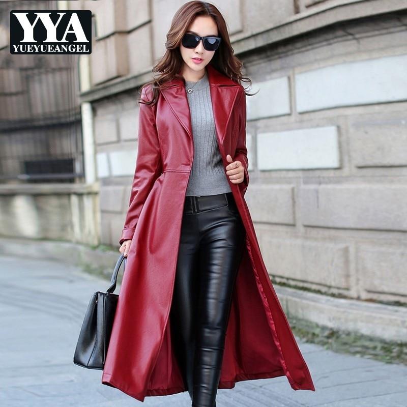 2019 Ladies PU   Leather   Jackets Black Red Womens Fleece Warm Windbreakers Long Trench Coat Faux   Leather   Jacket Female Streetwear