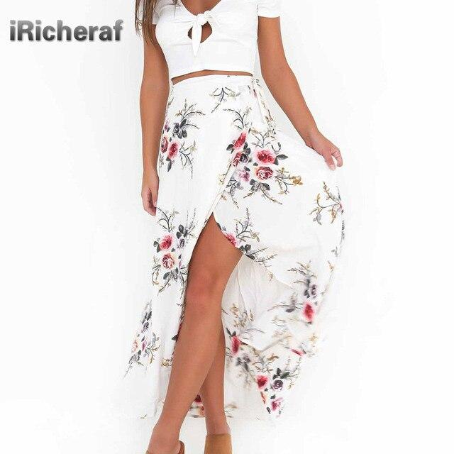 c0f30f20b0 IRicheraf Vintage impresión Floral faldas largas mujeres verano elegante  playa Maxi Boho alta cintura asimetría Irregular