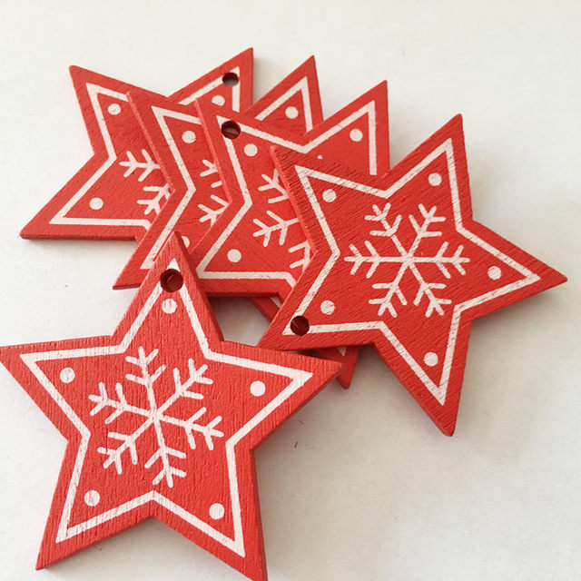 New 10pcs/Lot  Xmas Tree Decoration For Home Natural Wood Red 5CM Christmas Ornaments Snowflakes Pendant Hanging Gifts Wedding 22