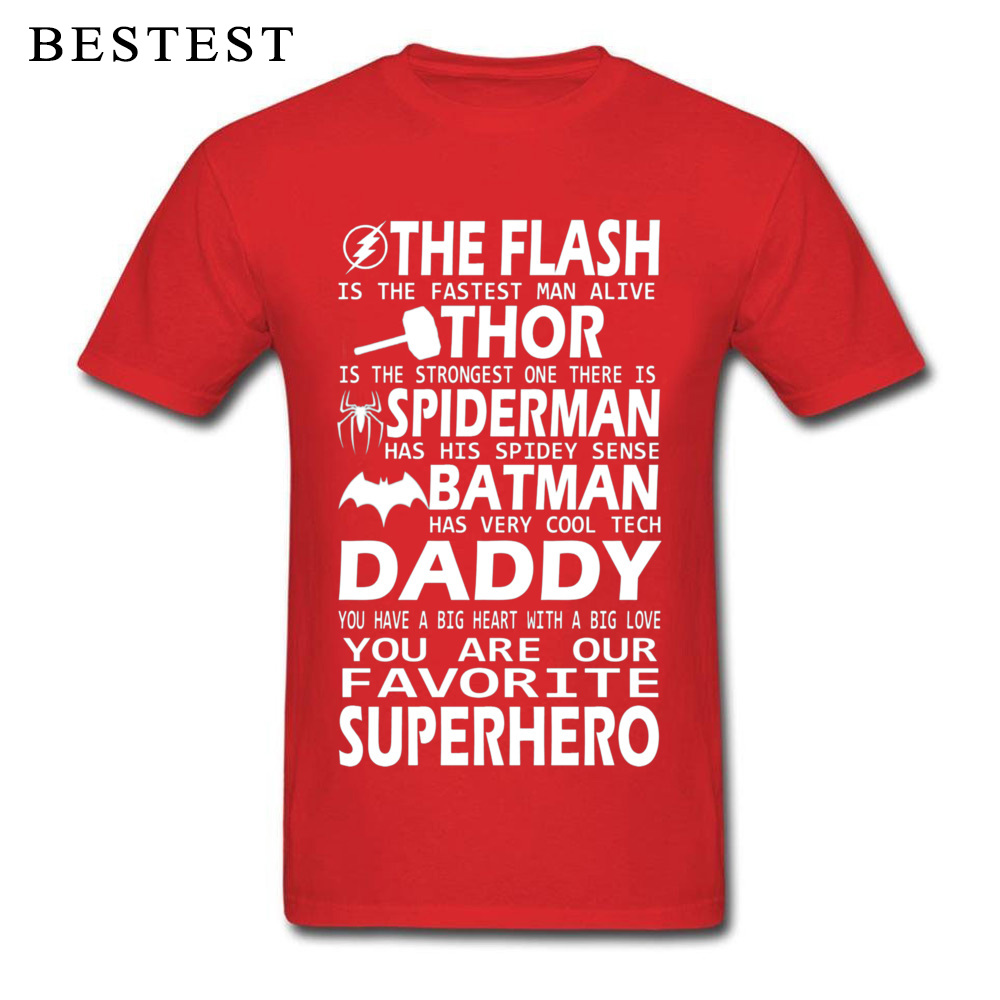 100% Cotton Men's Short Sleeve Daddy SuperHero 4279 Top T-shirts 3D Printed T Shirt Plain Cool Crew Neck Tees Wholesale Daddy SuperHero 4279 red