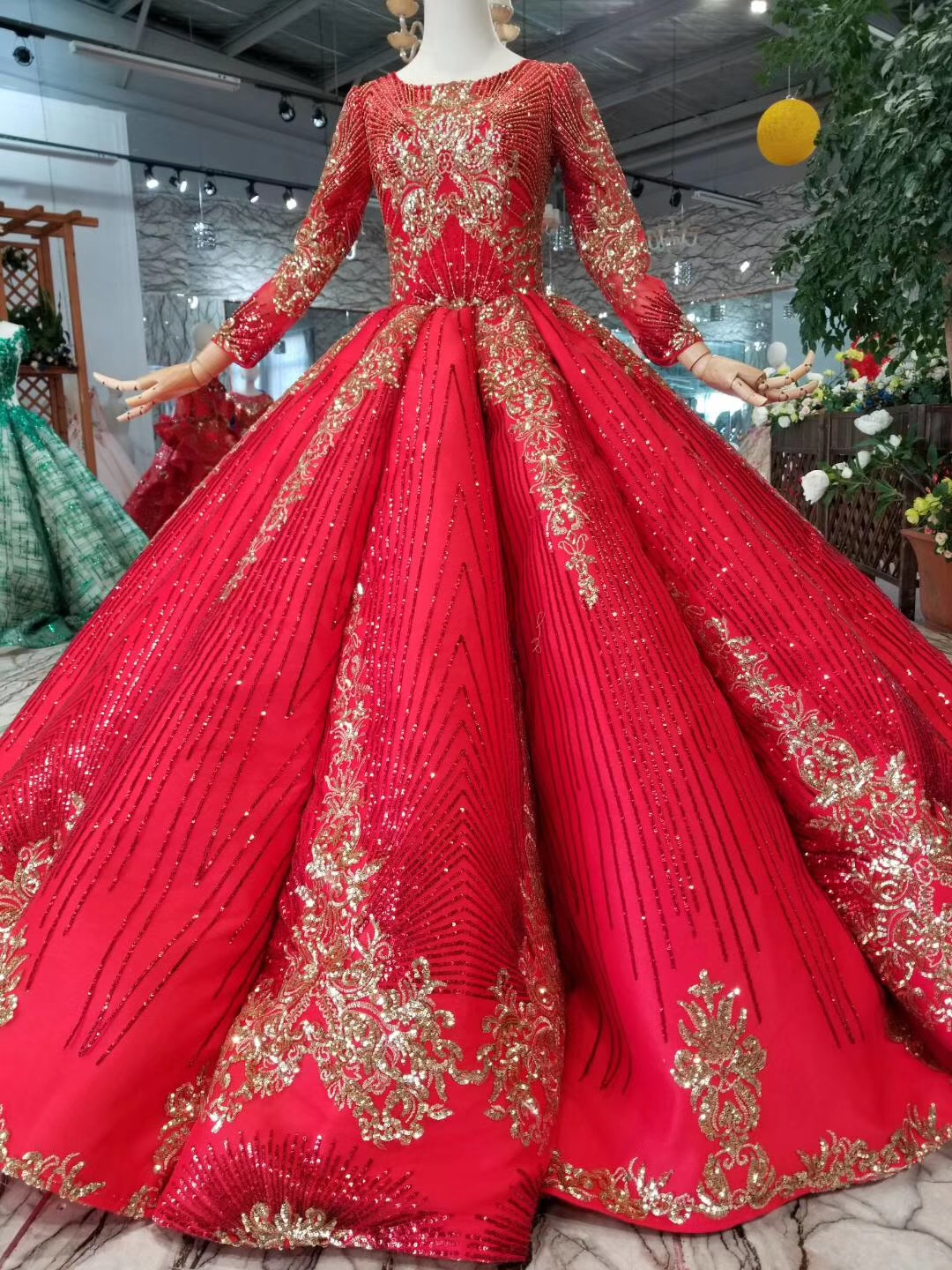 designer princess red ball gown