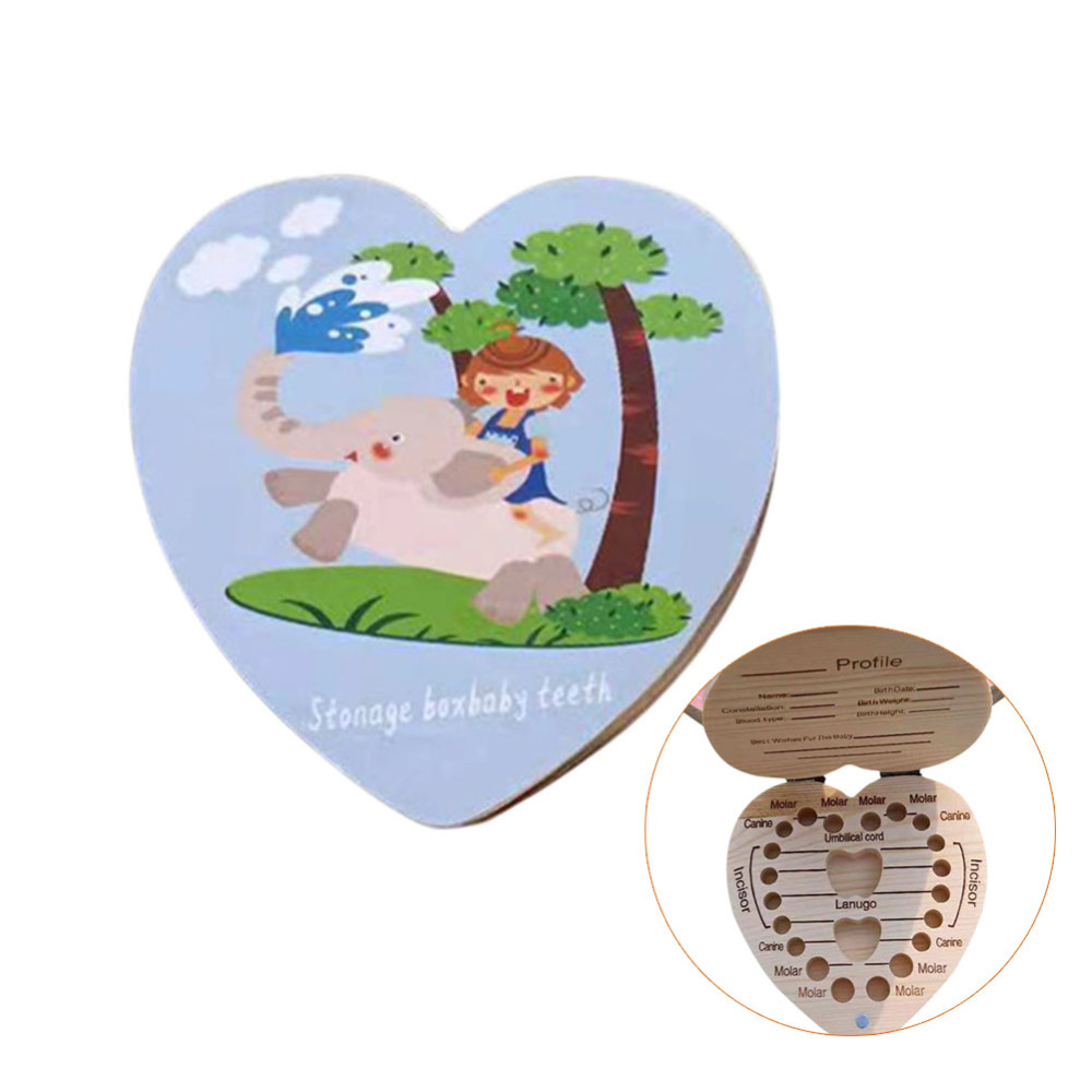 Wooden Kids Deciduous Teeth Box Children's Souvenir Save Tools Cartoon Baby Deciduous Teeth Box Kids Tooth Mini Storage Boxes