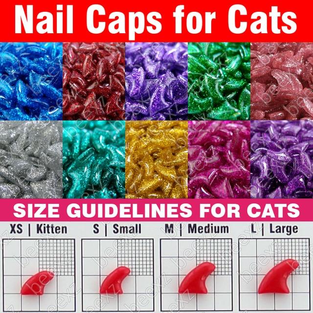 120pcs - Glitter Soft Nail Caps for Cats + 6x Adhesive Glue + 6x Applicator /* XS, S, M, L, paw, claw, cover, lot, cat */