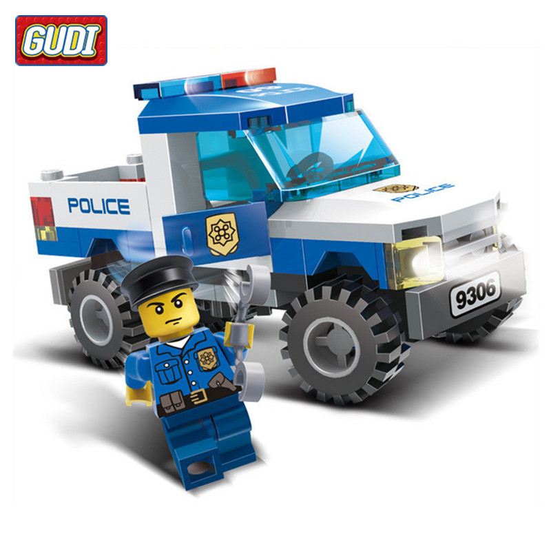 2017 Hot Block Toys 84pcs/set GUDI Police Pickup Car Model Building Blocks Toy for Children ABS Particles Assembling Boys Gift hot nuevo 10415 elfos azari aira naida emily jones cielo fortaleza castillo building block toys