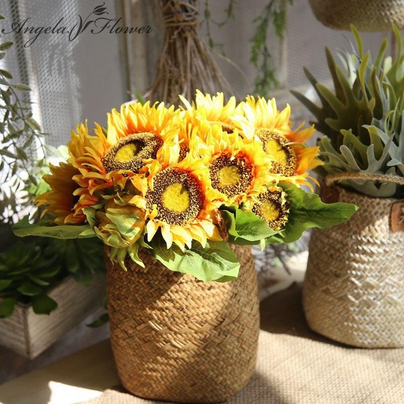 R4084 41 De Descontoseda Artificial Sol Flor Margarida Casa Varanda Escritório Jardim Decoração Flor Vivificação Diy Casamento Noiva Flores Falsas