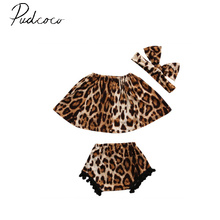 pudcoc 3Pcs sleeveless summer pullover fashion Newborn Infant Baby Girl Clothes Leopard Dress Tops+Pants+Headband Outfits 6-24M