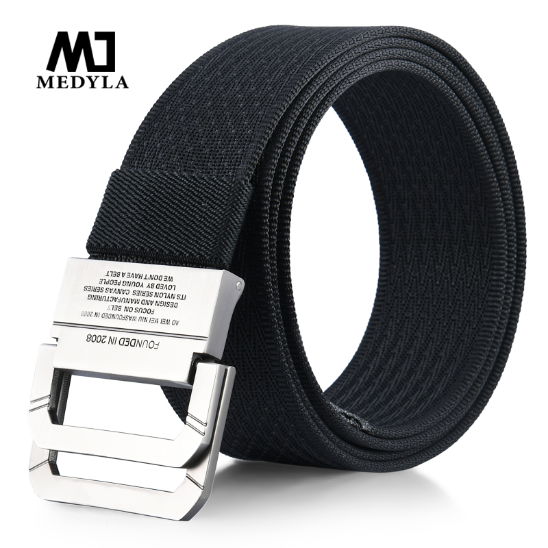 MEDYLA New Striped Adult Men Knitted Men Casual   Belts   Cintos Femininos Canvas   Belt   Plus Size Strap Male Tactics   Belt   Cummerbunds