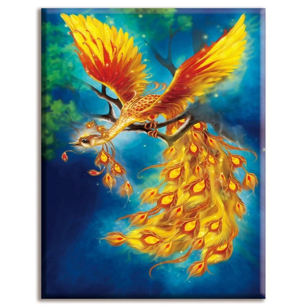 Soleggiato Dmc,cross Stitch,golden Peacock,anima ,white Canvas 40x50cm,cotton Thread,diy,needlework,kits