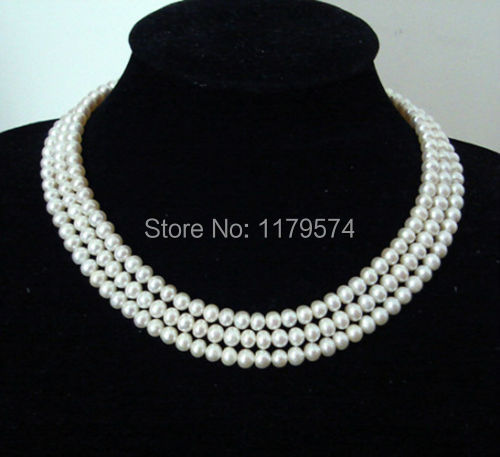 Beautiful natural pearl jewelry Hot Pretty! new fashion free shipping 3 Rows 8-9mm White Pearl shell  Necklace AAA Grade  W0400