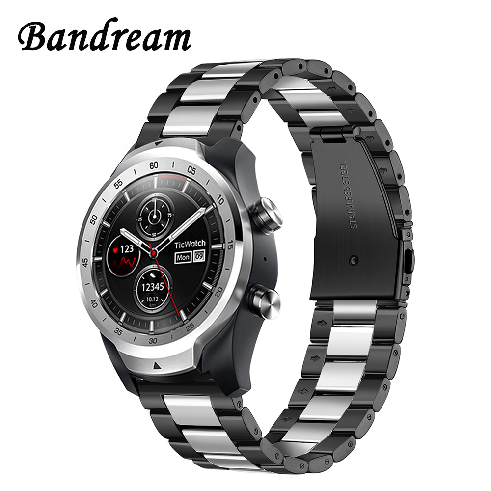 Bandream Stainless Steel Watchband + Link Remover for TicWatch Pro/E2/S2/1 46mm Quick Release Watch Band Wrist Strap Bracelet