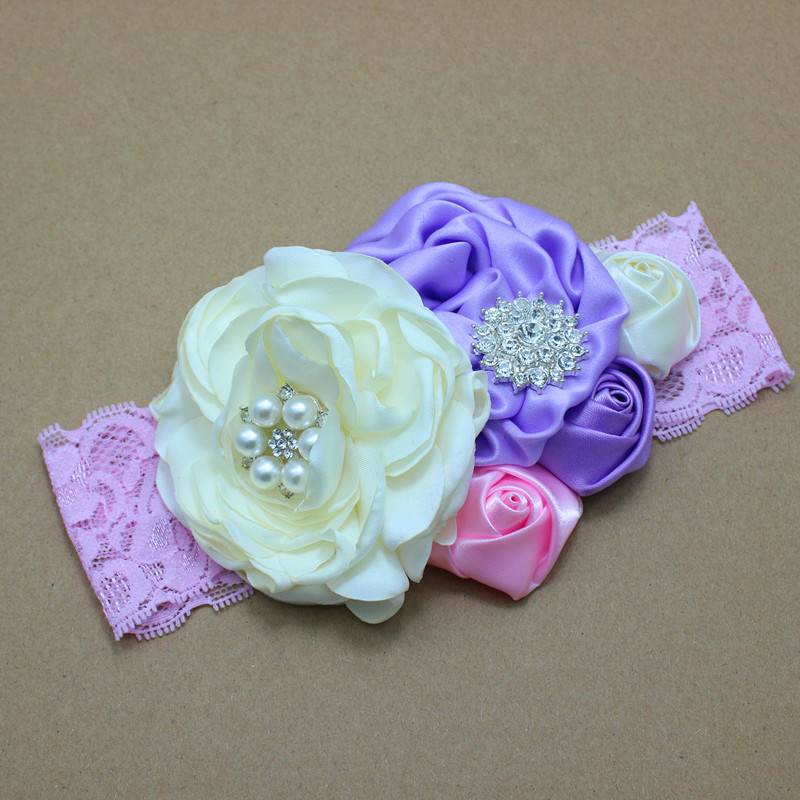 Princess Layered Flower Matching Sparking Rhinestone and pearl Headband rose Flower lace Headband