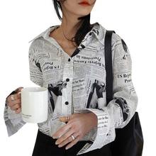 a5247680 Fashion Printed Newspaper Shirt Women Elegant Turn-Down Collar Blouse  Spring Autumn Simple Black Single