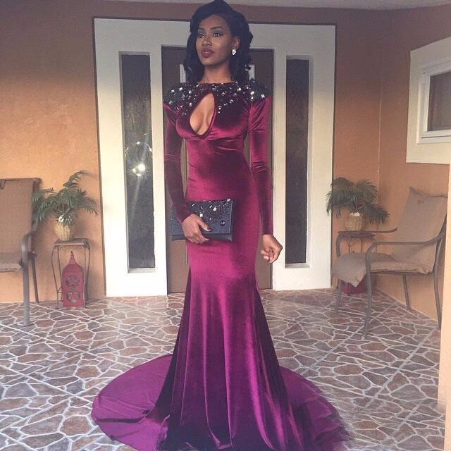 Buy Gorgeous Burgundy Evening Dresses 2016 Formal Boat Neck Beaded with Rhinestones Mermaid Prom Dresss Long Sleeve Backless Cut Out