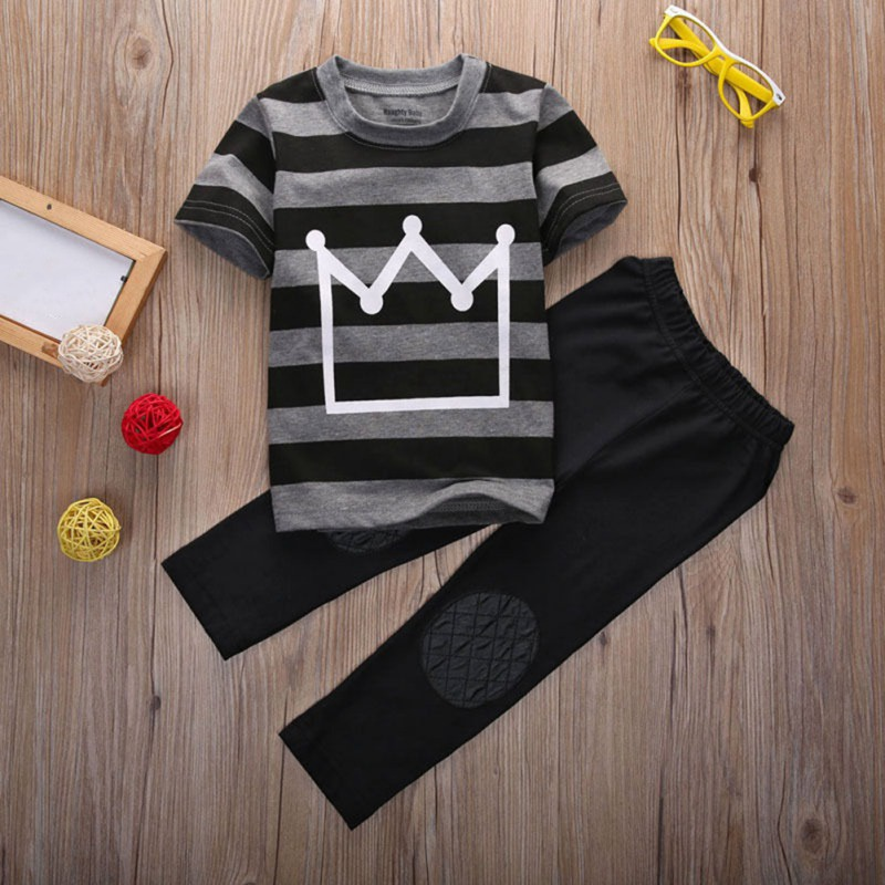 Summer Baby Boy Crown Striped Print Short Sleeve T-shirt Blouse Long Pants Trousers Casual Outfits Clothes Handsome Suits image