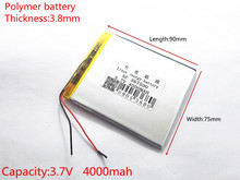 Three wire battery.3.7V 4000mah (polymer lithium ion battery) Li-ion battery for tablet pc 7 inch MP3 MP4 [387590] Free Shipping