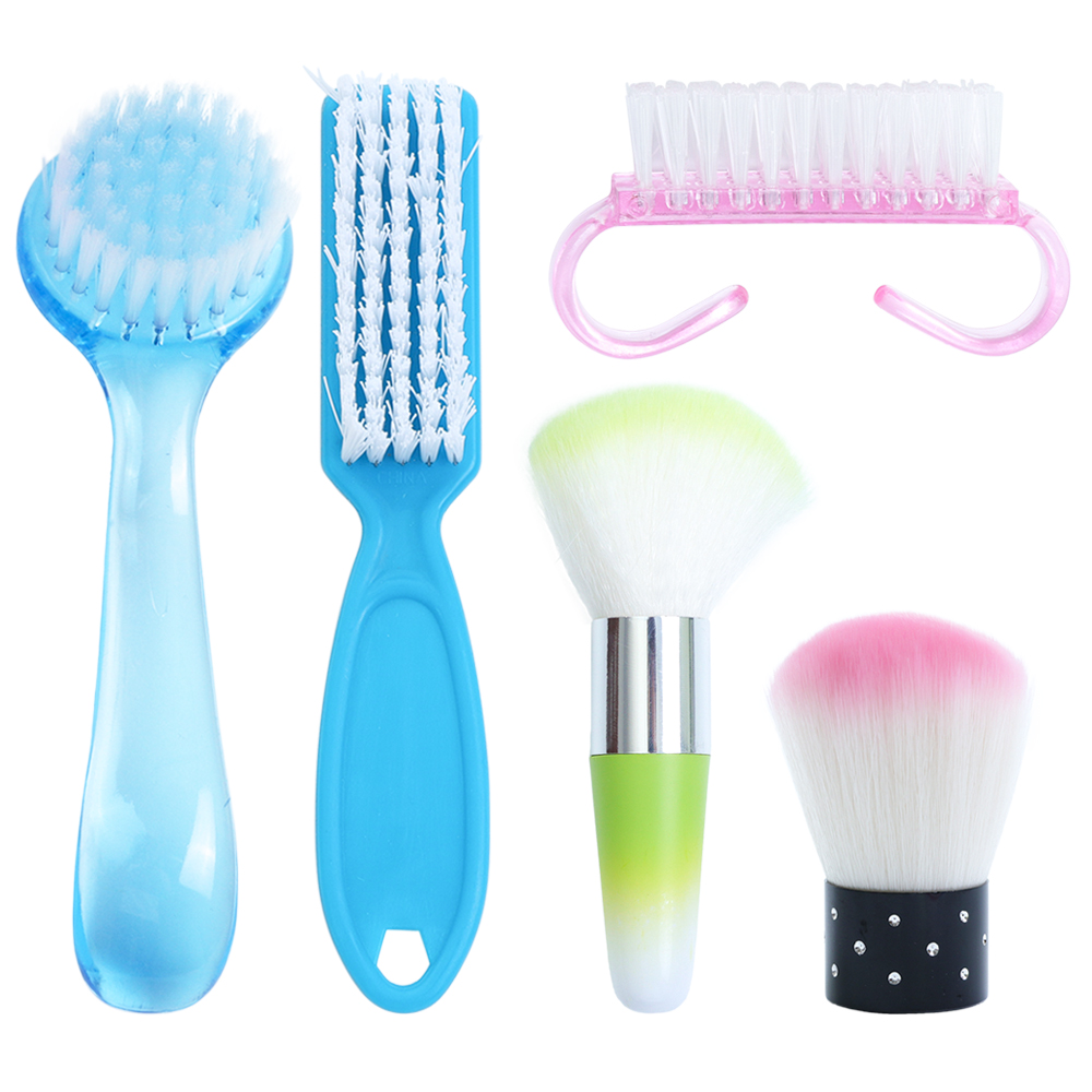 1PC 6 Types Nail Brush Cleaning Remove Dust Powder Plastic Cleaner For Acrylic UV Gel Nails Art Manicure Care Accessory SA095