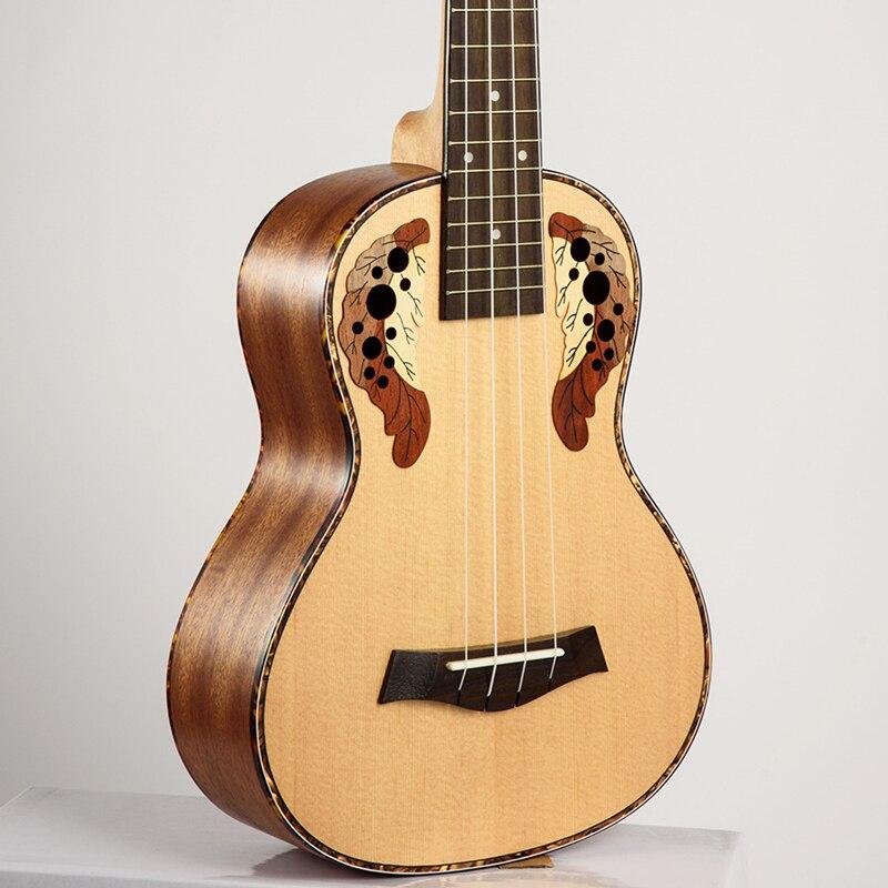 SevenAngel 26 pouces ténor ukulélé Ingrid épicéa Style raisin trou sonore 4 pique Mini guitare acoustique électrique Ukelele pick-up EQ - 6
