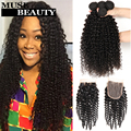 Amazing 10A Malaysian Deep Curly With Closure 4 Bundles Malaysian Kinky Curly Weave Human Hair With Closure Muse Beauty Hair