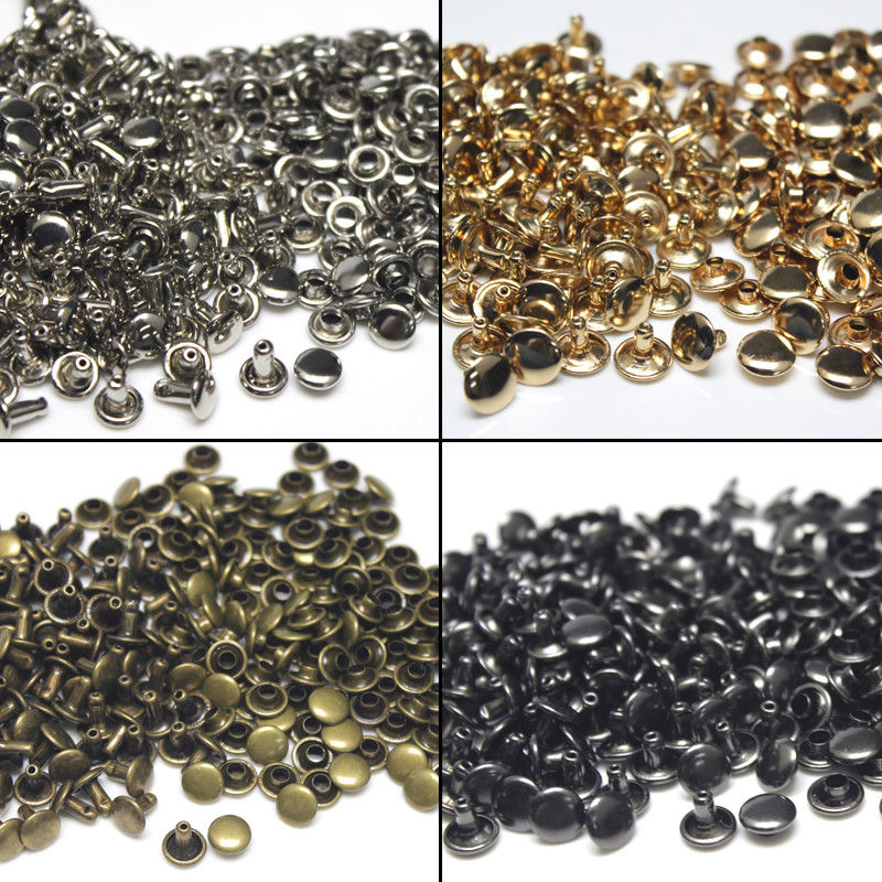 100sets 6/8mm Metal Double Cap Rivets Studs Round Rivet for Leather Craft Bag Belt Clothing Garment Shoes Pet Collar Decor