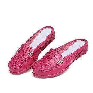Image 3 - BEYARNE Sandalias planas de piel auténtica para mujer, chanclas planas, para verano
