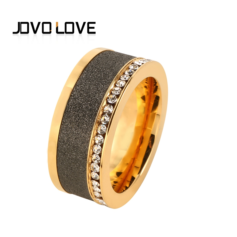 JOVO New Luxury Dull Polish Female Rings Gold Color Stainless Steel Rings for Women Men Wedding Rings Jewelry Rose Gold Color