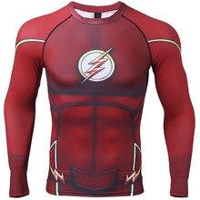Camiseta de compresión Flash 3D impreso camisetas hombres Raglan manga larga Superman Flash Cosplay disfraz Fitness ropa Tops hombre
