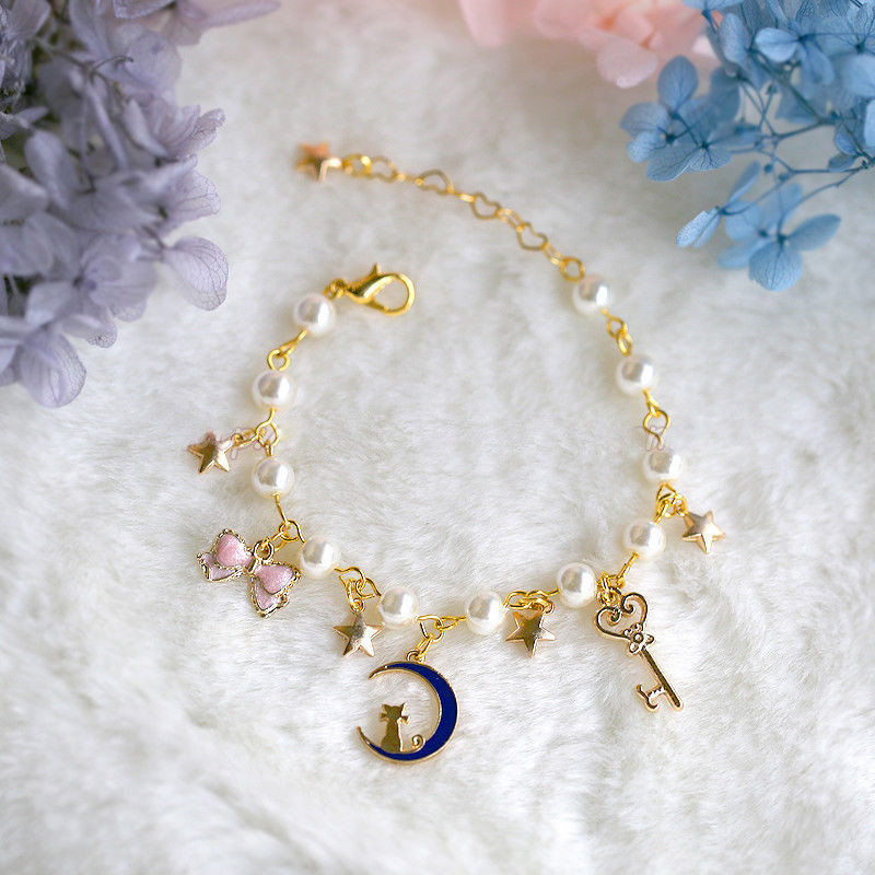 Anime Cartoon Sailor Moon 20th Anniversary Pearl Bracelet Lolita Star Wrist Bracelet Halloween Cosplay Bracelet Christmas Gift